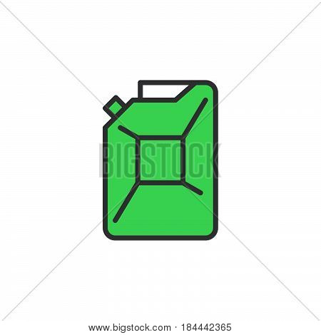 Petrol jerrycan line icon filled outline vector sign linear colorful pictogram isolated on white. Symbol logo illustration