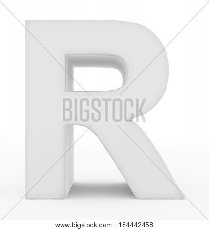 Letter R 3D White Isolated On White