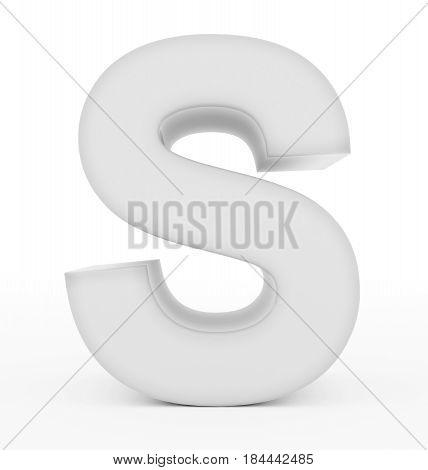 Letter S 3D White Isolated On White