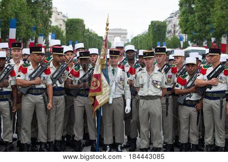 Paris France - July 14 2012. A group of legionaries of the French foreign legion before the parade on the Champs Elysees in Paris.