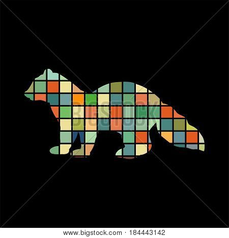 Sable marten mink mammal color silhouette animal. Vector Illustrator.