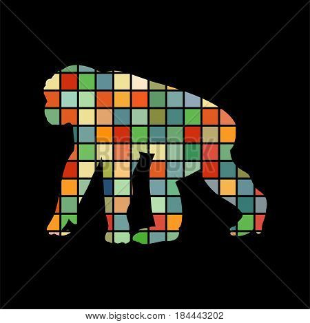 Chimpanzee monkey primater color silhouette animal. Vector Illustrator.