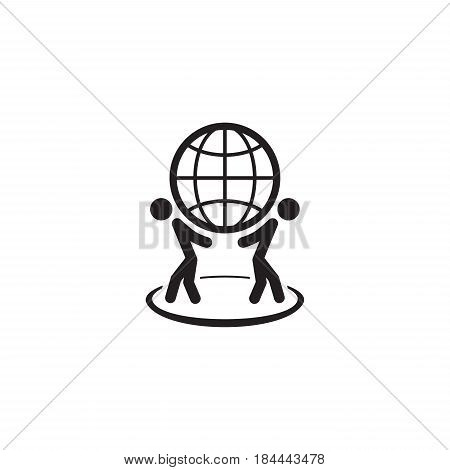 Global Business Icon. Flat Design. Isolated Illustration