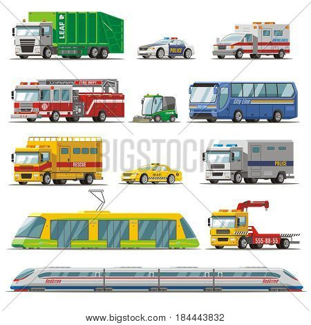 Colorful city transport set with garbage fire rescue trucks ambulance taxi police cars bus evacuator tram train isolated vector illustration