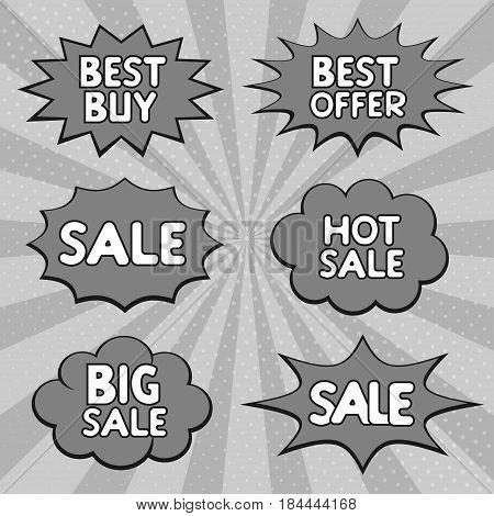Hot sale, Big sale, Best offer, Best buy marketing promotion bubble speech labels