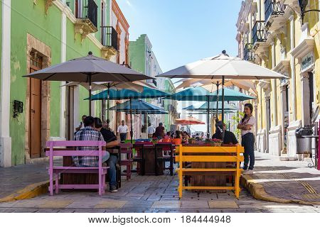 Outdoor Dining In Campeche, Mexico
