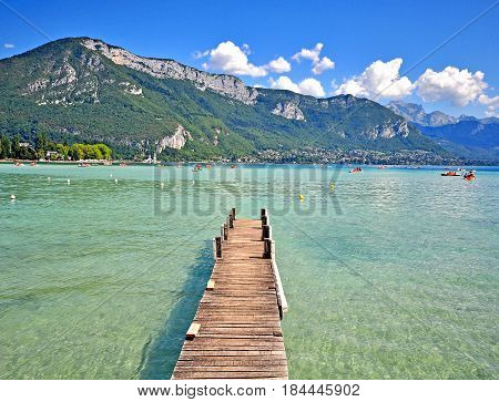 Summer view of Annecy lake Haute Savoie France