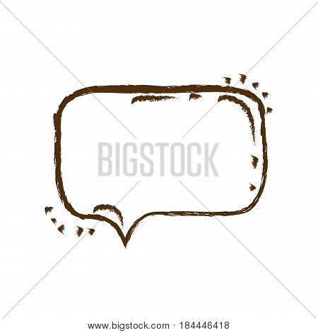 monochrome hand drawn silhouette of rounded rectangle speech vector illustration