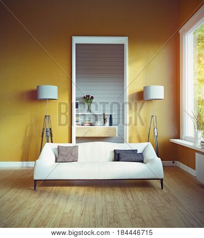 Sofa in front of the doorway to the adjacent room. 3D rendering