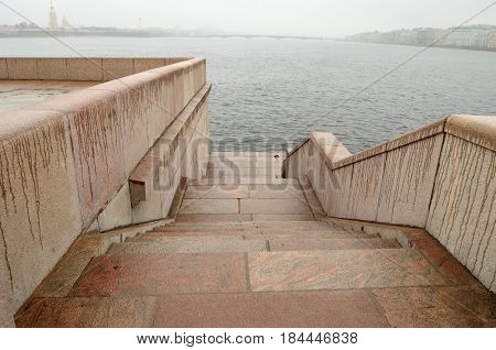 Russia.Saint-Petersburg.Embankment of the Neva river are faced with granite stone.