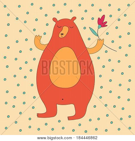Cartoon bear illustration with sweet bear holding a flower. Cute vector colorful bear illustration. Cheerful doodle bear illustration for prints, posters, covers, flyers, t-shirts and cards.