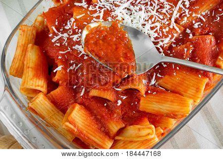 Typical Italian pasta rigatoni with tomato sauce