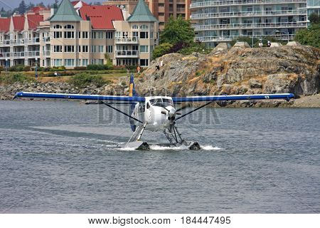 Seaplane taxiing in Victoria harbour, Vancouver Island