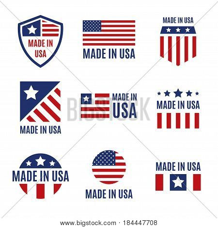 Vector set of isolated made in the USA labels and badges on white background