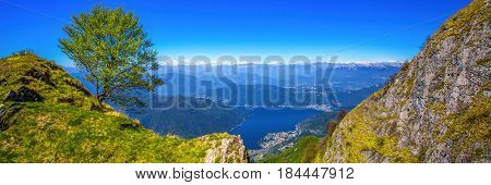 View To Lugano City, San Salvatore Mountain And Lugano Lake From Monte Generoso