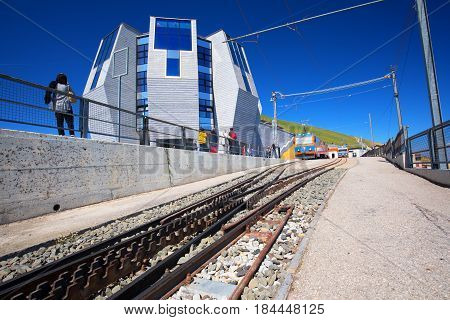 Mountain Railway Line With Panorama Restaurant In The Italian Speaking Canton Of Ticino
