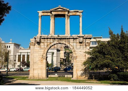 Hadrian's gate on a sunny day, Athens historical center, Greece. Horizontal.