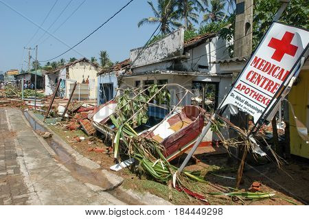The Debris After The Tsunami At Hikkaduwa In Sri Lanka