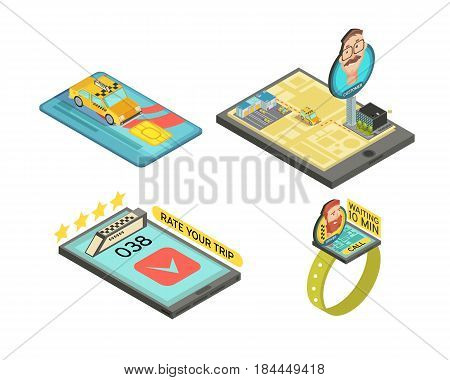 Call taxi by gadgets isometric compositions with car trip rating payment card waiting time isolated vector illustration