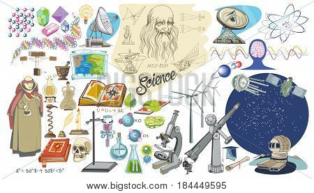 Colored doodle scientific elements set with biology geometry engineering astronomy chemistry sciences and black magic icons isolated vector illustration