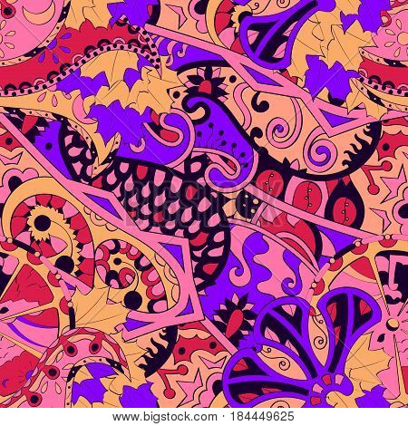 Tracery Seamless Calming Pattern. Mehendi Design. Ethnic Colorful Doodle Texture. Indifferent Discre