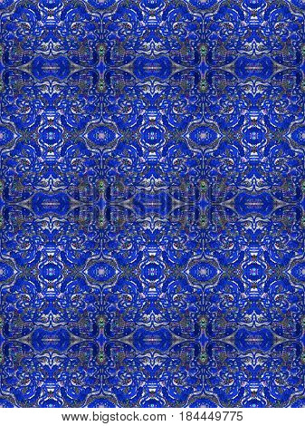 A tileable pattern of blue glitter filigree.