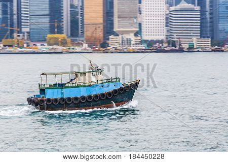 Ship Cruising Victoria Harbor