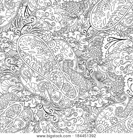 Tracery Seamless Calming Pattern. Mehendi Design. Ethnic Monochrome Binary Doodle Texture. Black And