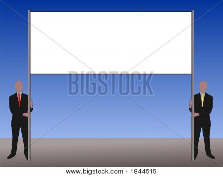 Two Men Holding Banner