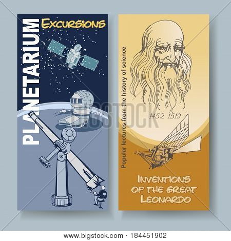 Colored doodle science vertical cards with astronomy objects and Leonardo da Vinci inventions vector illustration