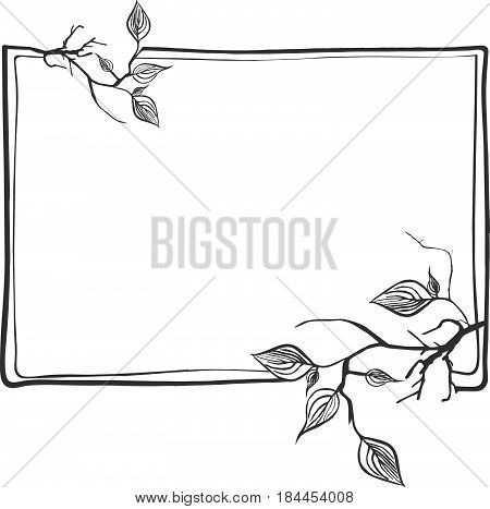 Abstract Branch Frame With Leaves and Copyspace