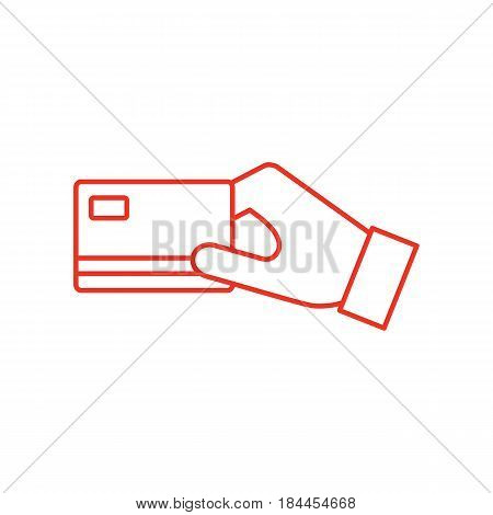 Flat line credit card payment icon isolated on white background. Red credit card payment icon for use in any projects. Minimal vector credit card payment icon for web sites and apps.