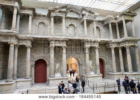BERLIN GERMANY - APRIL 7: Market gate of Miletus town in Pergamon museum on April 7 2017 in Berlin