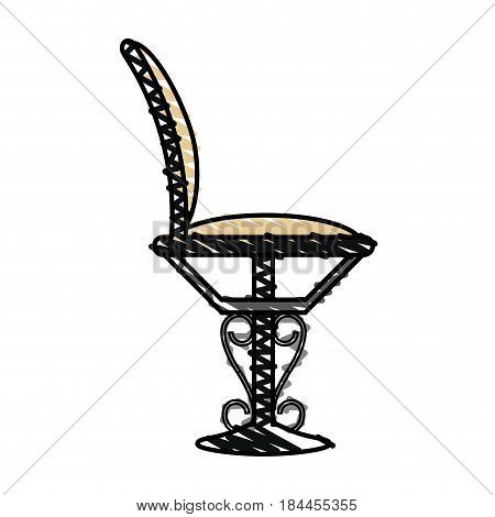 color crayon stripe elegant dining chair vector illustration