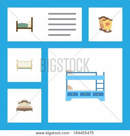 Flat Mattress Set Of Bed, Bunk Bed, Cot And Other Vector Objects. Also Includes Cot, Bedroom, Hostel Elements.
