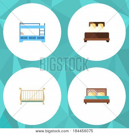 Flat  Set Of Hostel, Bunk Bed, Cot And Other Vector Objects. Also Includes Crib, Bunk, Double Elements.