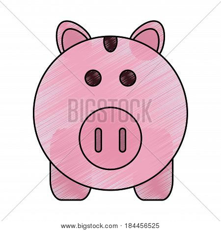 color pencil cartoon pink piggy bank with dollar coins vector illustration