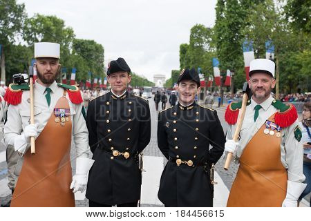 Paris. France. July 14 2012. A group of legionaries of the French foreign legion before the parade on the Champs Elysees in Paris.