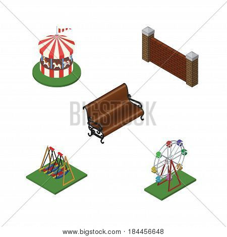 Isometric Street Set Of Seesaw, Recreation, Carousel And Other Vector Objects. Also Includes Horses, Barrier, Wall Elements.