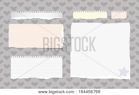 Ripped white, colorful ruled note, notebook, copybook sheets stuck on pattern created of heart shapes and star on paper corner.