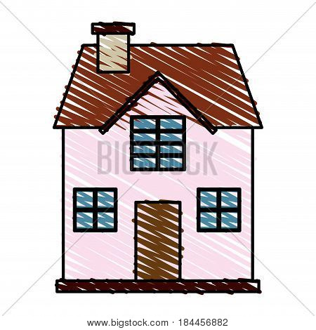 color crayon stripe cartoon facade confortable house with two floors vector illustration