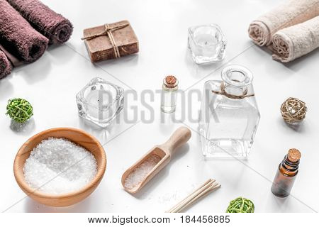 Aromatherapy SPA set with salt and natural oil on white background