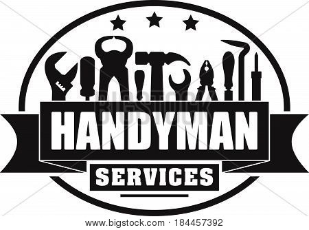 Handyman services vector solid gubber stamp for your logo or emblem with banner and set of workers tools. There are wrench screwdriver hammer pliers soldering iron scrap.