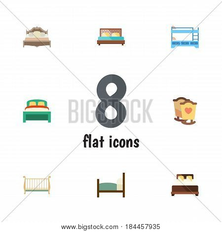 Flat Bed Set Of Crib, Bedroom, Bed And Other Vector Objects. Also Includes Mattress, Child, Double Elements.