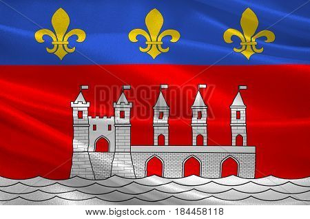 Flag of Saintes is a commune and historic town in southwestern France in the Charente-Maritime department of which it is a sub-prefecture in Nouvelle-Aquitaine. 3D illustration