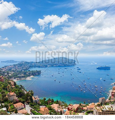 landscape of riviera coast and turquiose water of Mediterranean sea, cote dAzur at sunny summer day, French RIviera, France