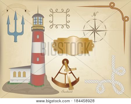 Marine vector set - figure of the lighthouse. background old map. frame of rope and bronze. old metal patterned plate. fluttering ribbon. the Trident and the sextant