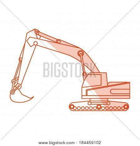orange silhouette shading construction heavy machine excavator vector illustration