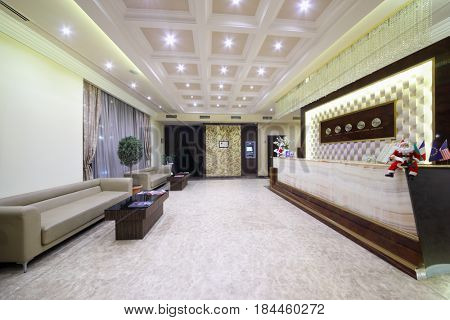 YEREVAN, ARMENIA - JAN 6, 2017: Reception with clocks, sofas in Hotel National, it is modern hotel, member of Luxury Group