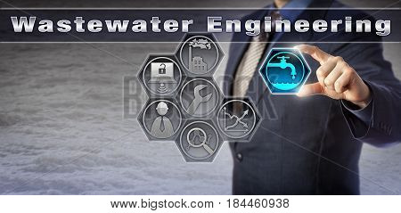 Blue chip civil engineer is performing Wastewater Engineering tasks via a computer aided design program. Industry concept for water treatment sanitation civil and environmental engineering. poster